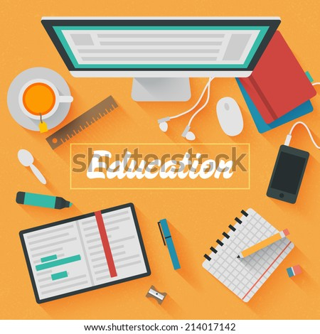 Point of View Flat Design Illustration: Education workplace. Icons set of business and educational work flow items, elements and gadgets. - stock vector