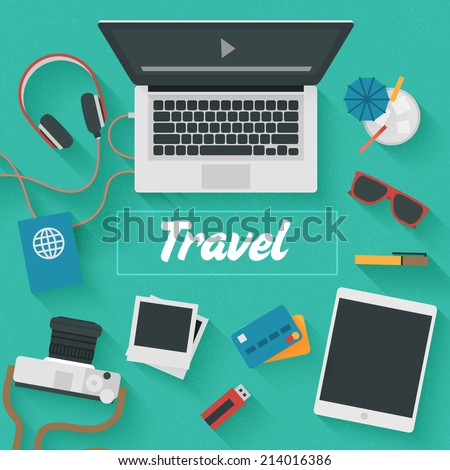 Point of View Flat Design Illustration: Travel. Icons set of lifestyle items, elements and gadgets. - stock vector