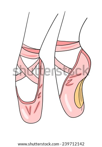 pointe shoes stock vector 239712142 shutterstock rh shutterstock com images of cartoon pointe shoes cartoon ballet shoes