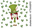 Pointed ear leprechaun celebrating St Patrick' Day - stock vector