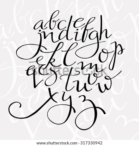 pointed pen alphabet, flourish script vector letters, elegant swirl font for menu or wedding invitation titles - stock vector