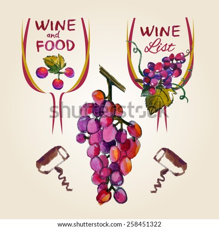 Pointer drawn pour wine with splashes and blots prints glass, of wine, grapes and a corkscrew. Perfect for win list, wine menu. Vector design - stock vector