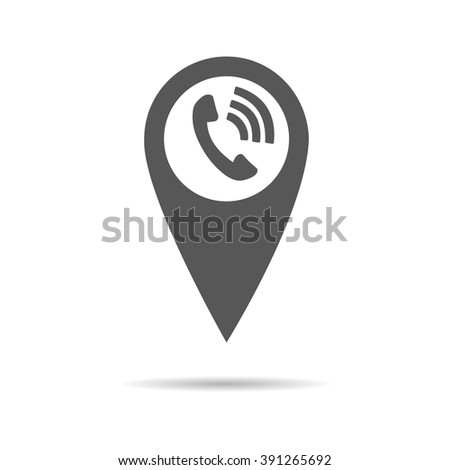 Pointer phone call on map - stock vector
