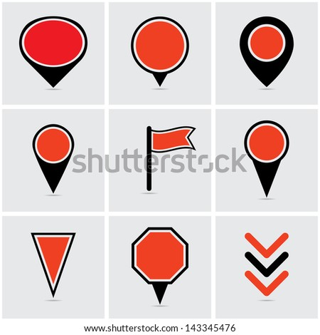 pointers for map infographics. eps10 - stock vector