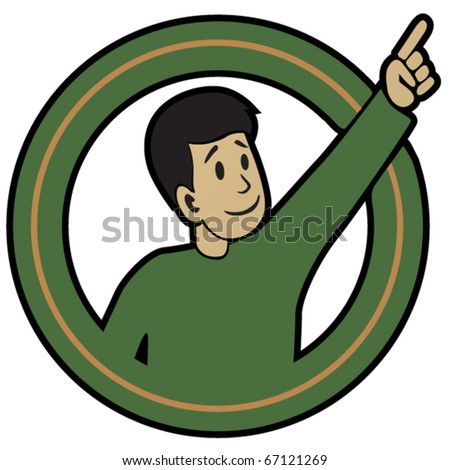 Pointing Fellow sticker. Vector illustration of man with pointing hand. - stock vector