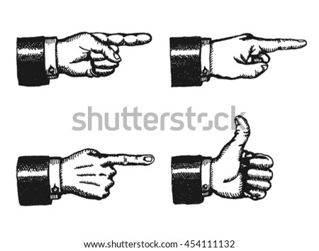 Pointing Finger And Thumbs Up Sign/ Illustration of a sketched set of businessman black hands with index finger pointing, and giving a thumbs up, isolated on white