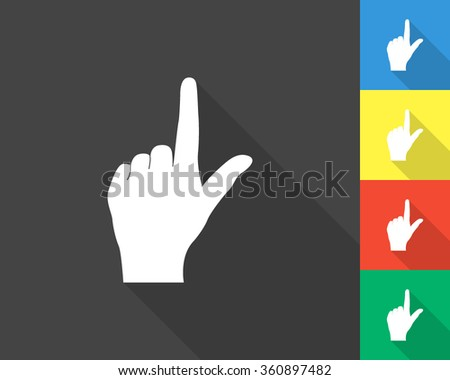 pointing finger icon - gray and colored (blue, yellow, red, green) vector illustration with long shadow - stock vector