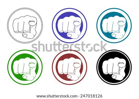 Pointing fingers icons set. Vector clip art illustrations isolated on white - stock vector