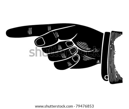 Pointing Hand Graphic - Retro Clipart Illustration