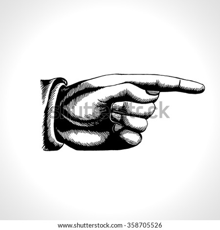 Pointing hand. Vector of pointing finger, vintage engraving style