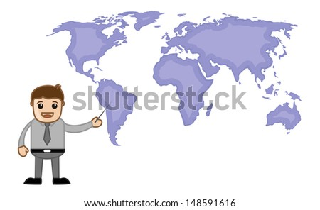 Pointing World Map - Business Office Cartoon Character - stock vector