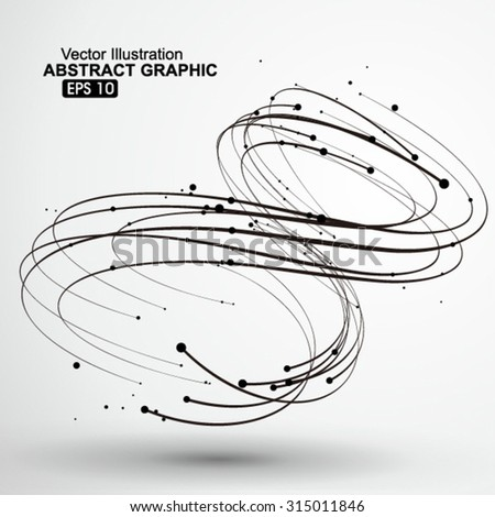 Points and curves of spiral abstract graphics. - stock vector