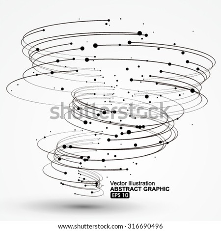 Points and curves of spiral graphics,Vector Illustration. - stock vector