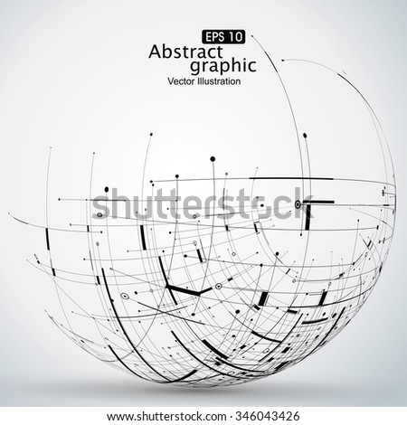 Points, curves, surfaces formed wireframe sphere, science and technology abstract illustration. - stock vector