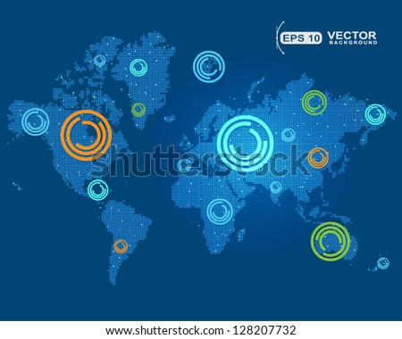 points of the world maps - stock vector