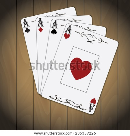 Poker card, ace of clubs, ace of diamonds, ace of hearts, ace of spades, set wood background - stock vector