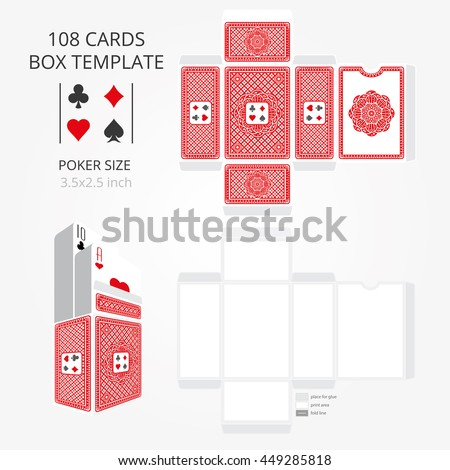 Poker Card Size Tuck Box Template Vector Stock Vector HD (Royalty ...