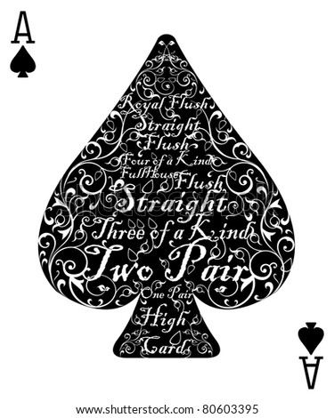 Poker card spade ace - the perfect card - stock vector
