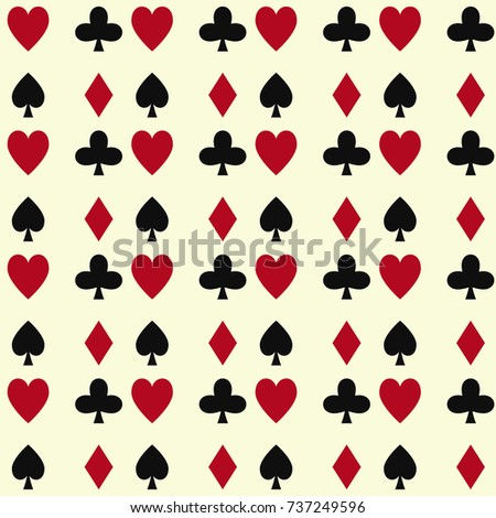 Poker cards casino gambling seamless pattern background playing royal king queen jack gamble symbols vector illustration.