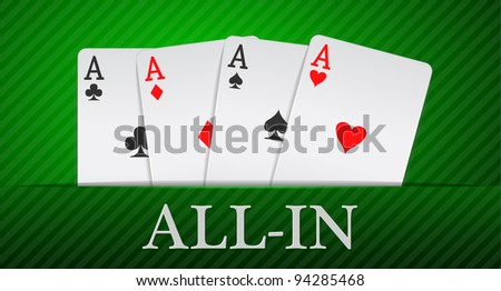 poker cards on green textured tapestry - stock vector