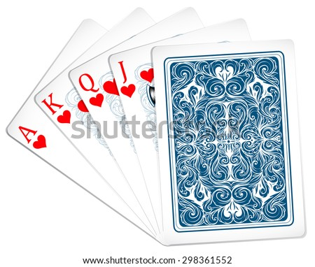 Poker cards set of hearts - stock vector