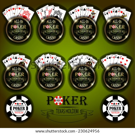 Poker cards. Vector background. Poker and casino label. Texas holdem. All-in.
