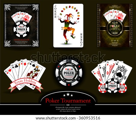 Poker chip.Casino background.Vip.Vintage style and Poker Tournament label. Joker. King. Ace. Royal flush - stock vector