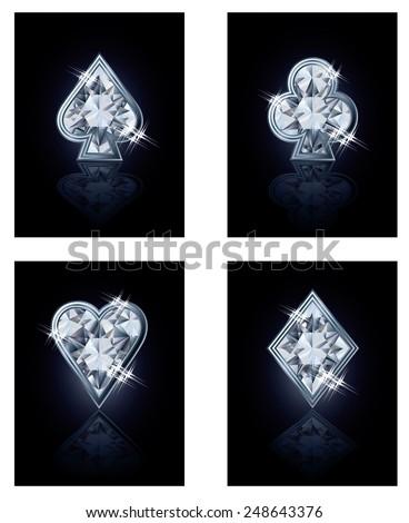 Poker diamonds card, vector illustration - stock vector