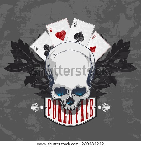 Poker face-Skull and four aces - stock vector