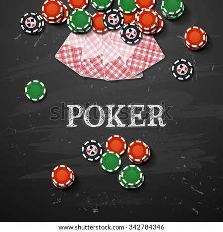 Poker gambling chips. vector casino elements - stock vector