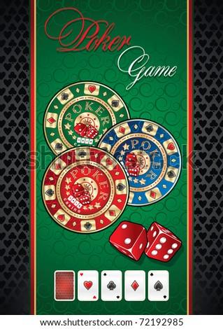 Poker game theme. Illustration with huge poker chip - stock vector