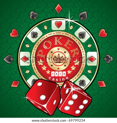 Poker illustration. Poker game theme - stock vector