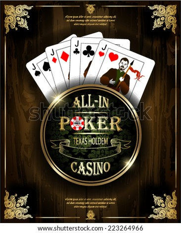 Poker Jacks. Vector background. Poker and casino label. Texas holdem. All-in. Wood texture.