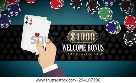 Poker online banner with hand holding two aces and chips all around - stock vector
