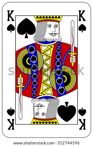 Poker playing card King spade - stock vector