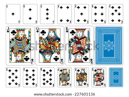 Poker size Club playing cards plus playing card back. New original playing card deck design. Symbol worked  into Jack, Queen and King. Reverse of deck features pattern with interwoven suit symbols.  - stock vector