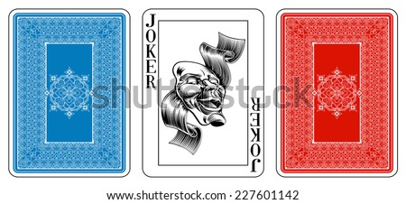Poker size joker playing card plus playing card back. New original playing card deck design. Symbol worked  into Jack, Queen and King. Reverse of deck features pattern with interwoven suit symbols.  - stock vector
