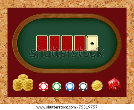 Poker table with cards. Gambling chip - stock vector