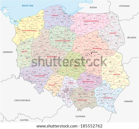 poland administrative map - stock vector