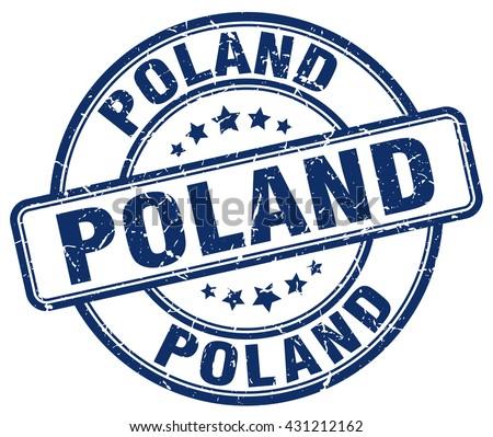 Poland blue grunge round vintage rubber stamp.Poland stamp.Poland round stamp.Poland grunge stamp.Poland.Poland vintage stamp. - stock vector