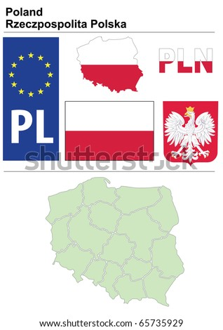 Poland collection including flag, plate, map (administrative division), symbol, currency unit & coat of arms - stock vector