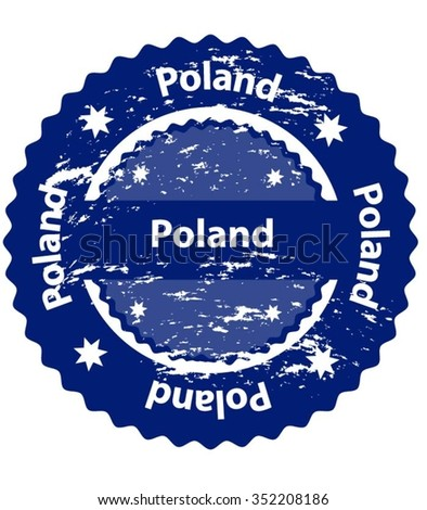 Poland Country Grunge Stamp - stock vector