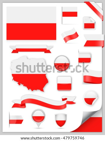 Poland Flag Set - Vector Collection