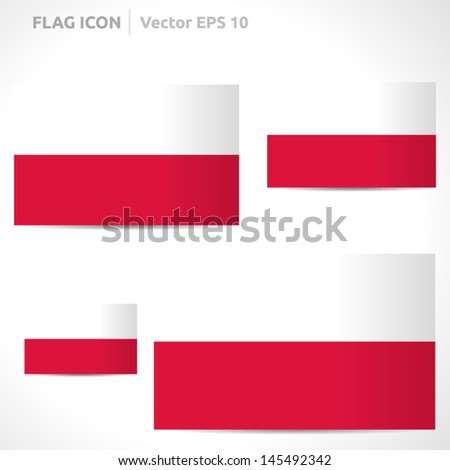 Poland flag template | vector symbol design | color red and white | icon set