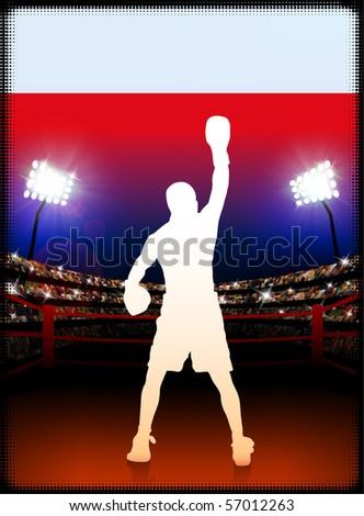Poland Flag with Boxer on Stadium Background Original Illustration - stock vector