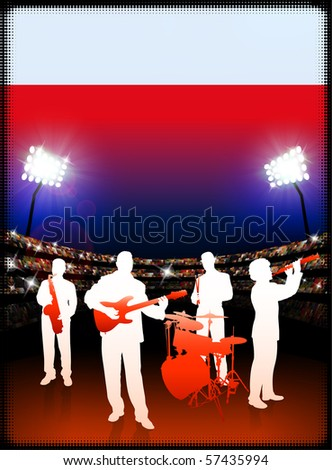 Poland Flag with Live Music Band on Stadium Background Original Illustration - stock vector