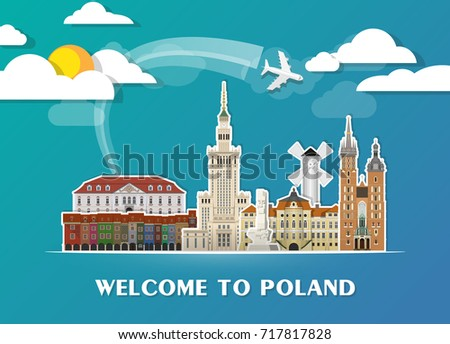 Poland Landmark Global Travel And Journey Paper Background Vector Design Templateused For Your