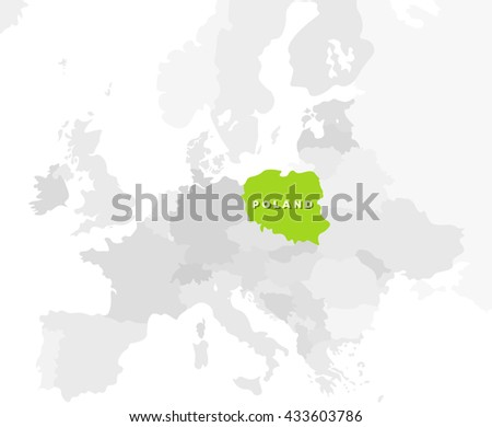 Poland location modern detailed map. All european countries without names. Vector template of beautiful flat grayscale map design with selected country name text and Poland border location - stock vector