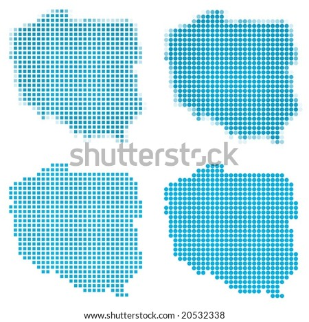 Poland map mosaic set. Isolated on white background. - stock vector