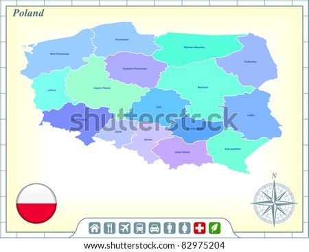 Poland Map with Flag Buttons and Assistance & Activates Icons Original Illustration